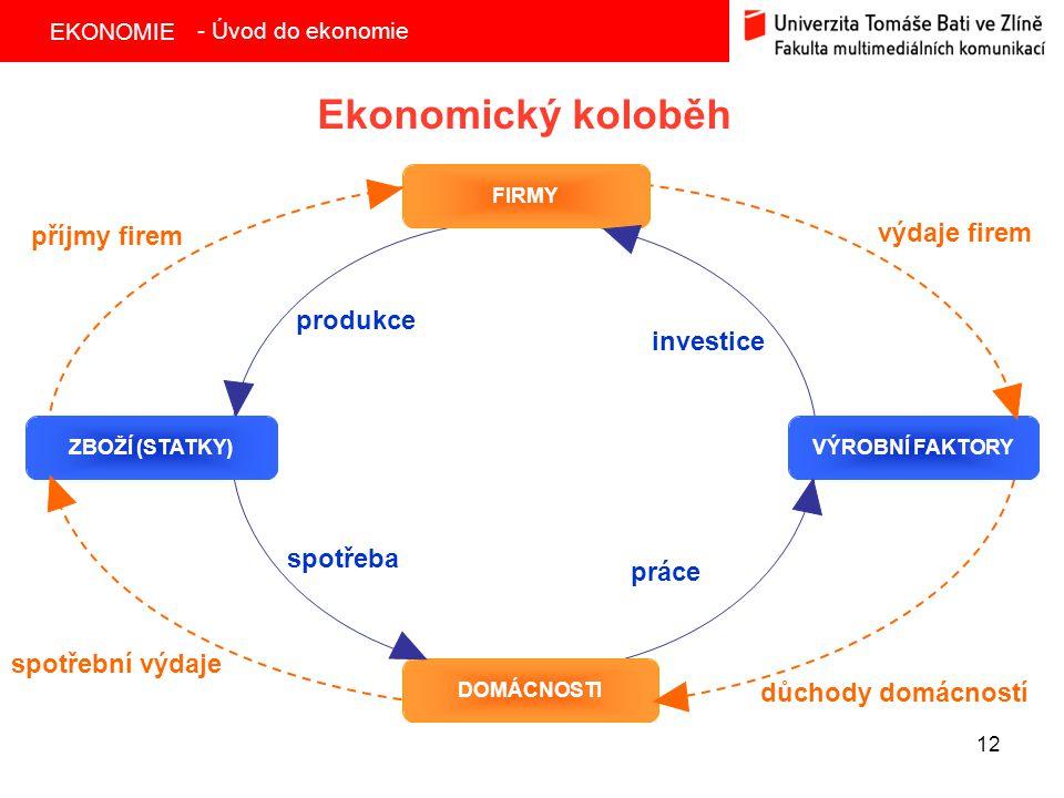 Ekonomický koloběh výdaje firem příjmy firem produkce investice