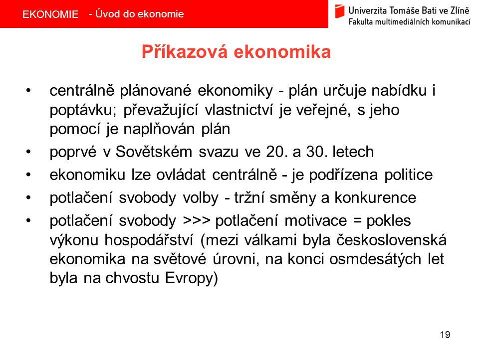 - Úvod do ekonomie Příkazová ekonomika.