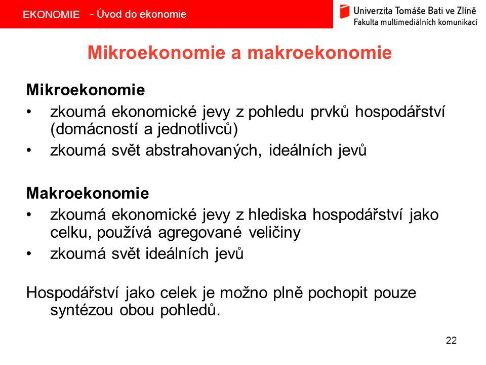 Mikroekonomie a makroekonomie