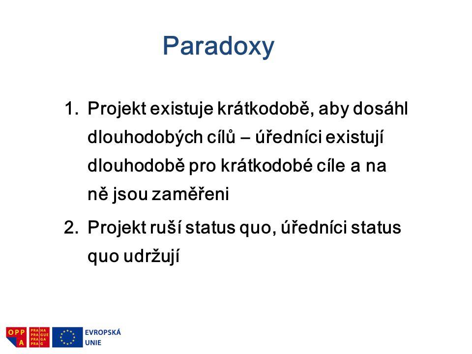 Paradoxy Projekt existuje krátkodobě, aby dosáhl dlouhodobých cílů – úředníci existují dlouhodobě pro krátkodobé cíle a na ně jsou zaměřeni.
