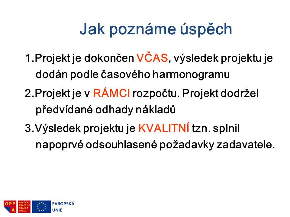 Jak poznáme úspěch 1.Projekt je dokončen VČAS, výsledek projektu je dodán podle časového harmonogramu.