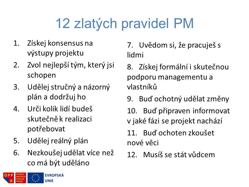 12 zlatých pravidel PM Získej konsensus na výstupy projektu