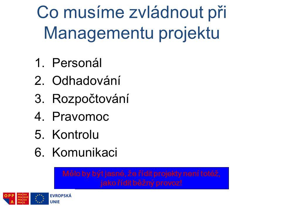 Co musíme zvládnout při Managementu projektu