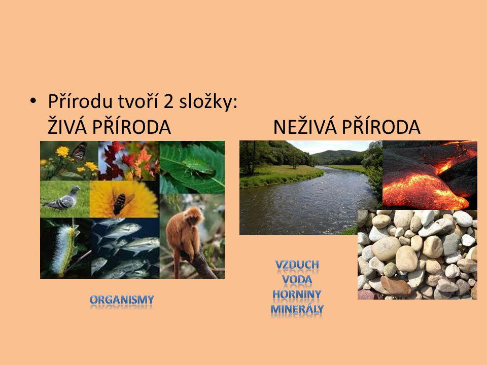 Přírodu tvoří 2 složky: ŽIVÁ PŘÍRODA NEŽIVÁ PŘÍRODA