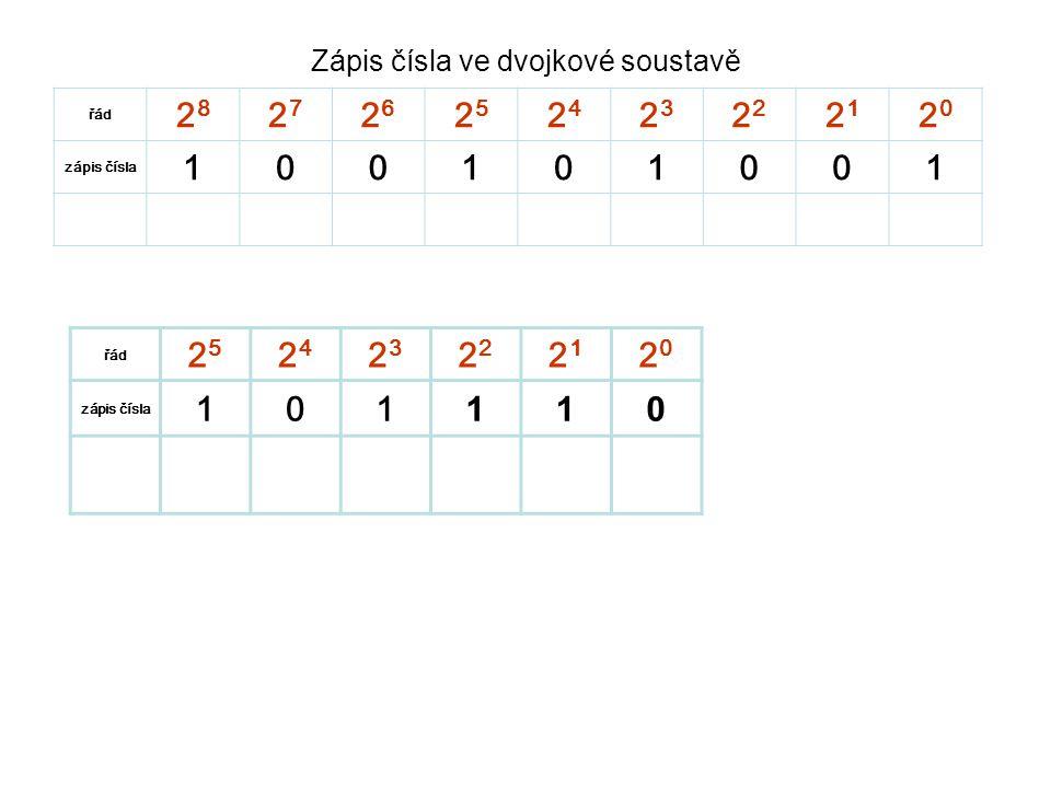 Zápis čísla ve dvojkové soustavě