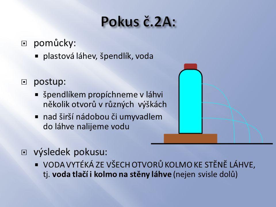 Pokus č.2A: pomůcky: postup: výsledek pokusu: