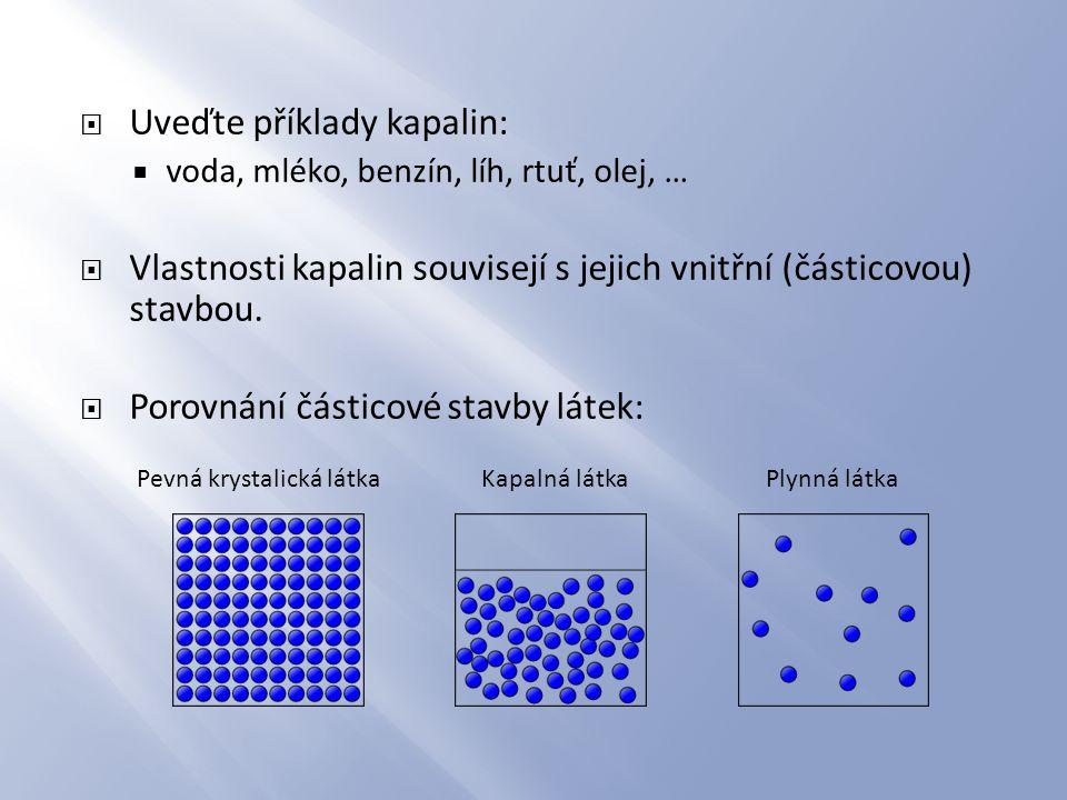 Uveďte příklady kapalin: