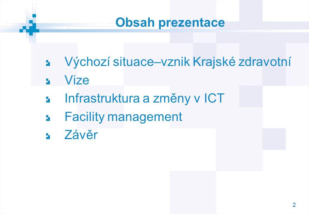 Obsah prezentace Výchozí situace–vznik Krajské zdravotní. Vize. Infrastruktura a změny v ICT. Facility management.