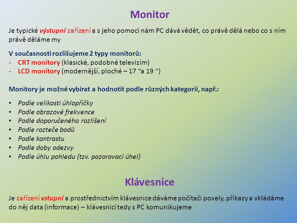 Monitor Je typické výstupní zařízení a s jeho pomocí nám PC dává vědět, co právě dělá nebo co s ním právě děláme my.