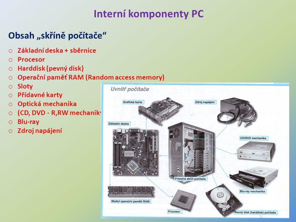 """Interní komponenty PC Obsah """"skříně počítače"""