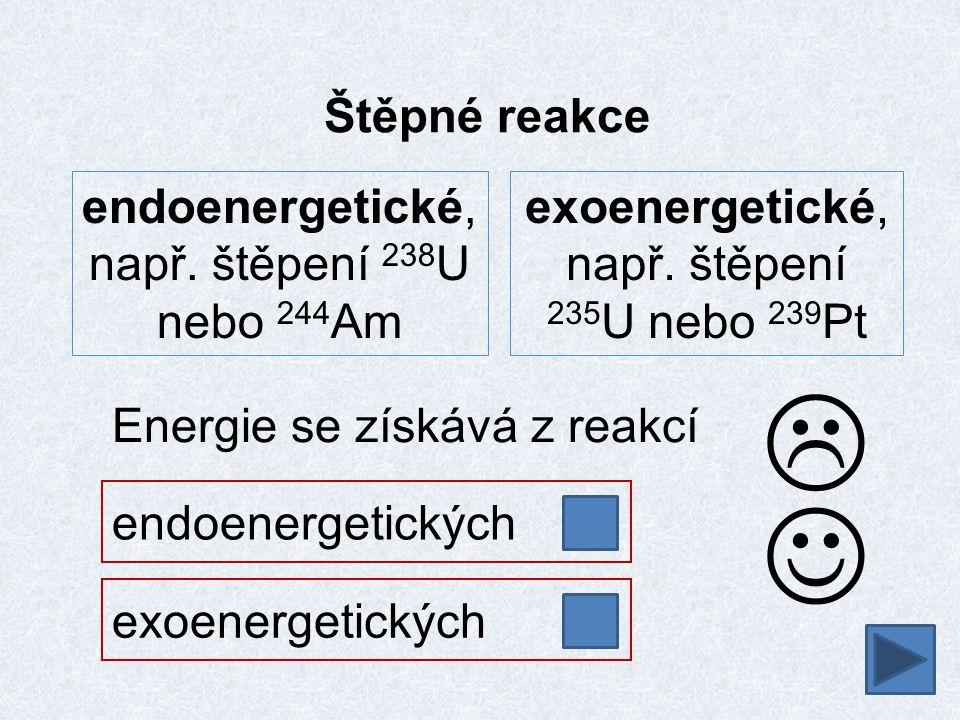   Štěpné reakce endoenergetické, např. štěpení 238U nebo 244Am