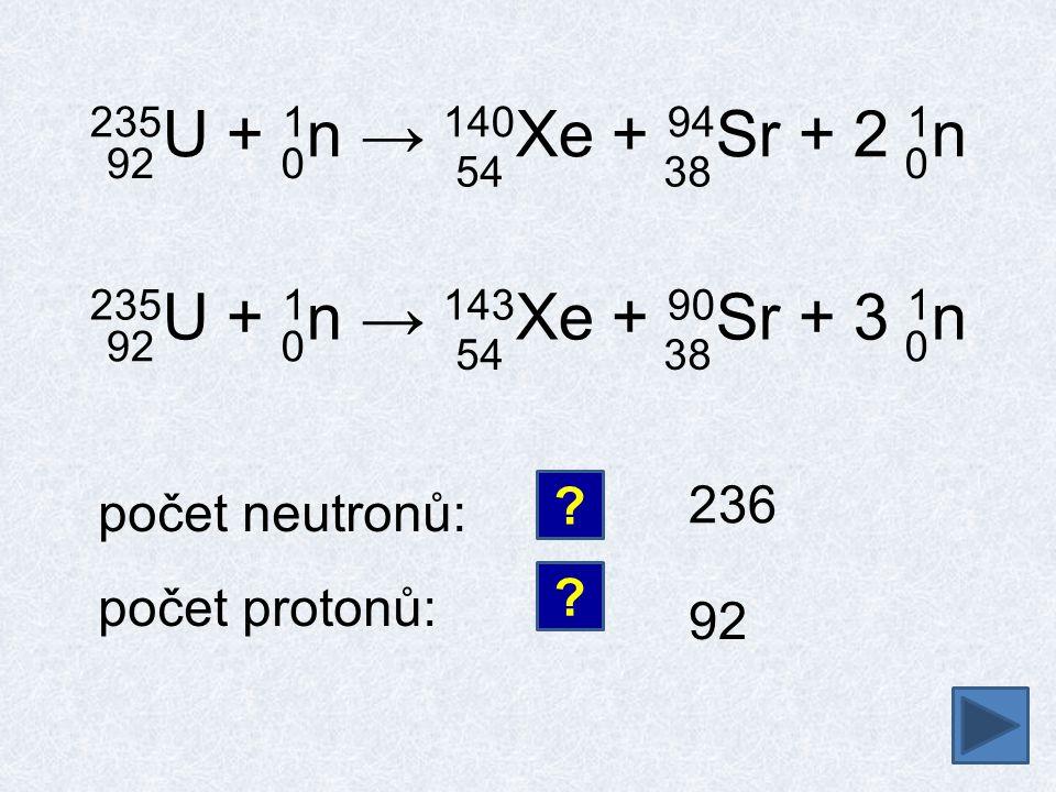 235U + 1n → 140Xe + 94Sr + 2 1n 92. 54. 38. 235U + 1n → 143Xe + 90Sr + 3 1n. 92. 54. 38. 236.