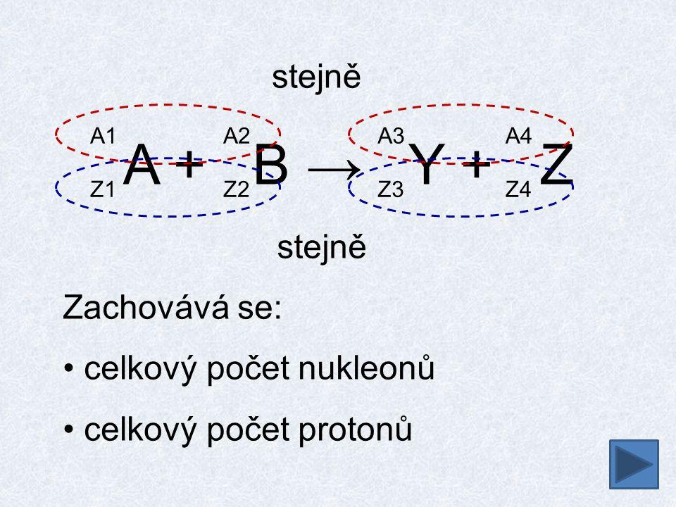 A + B → Y + Z stejně stejně Zachovává se: celkový počet nukleonů