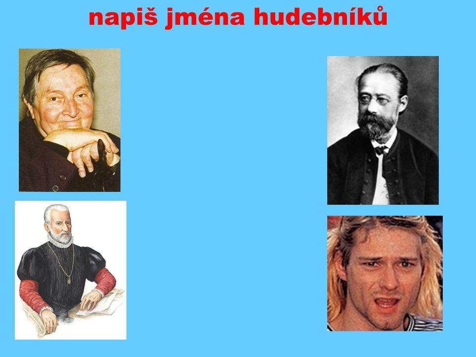 napiš jména hudebníků vlevo: P. Šmok, G.P. da Palestrina vpravo: B.