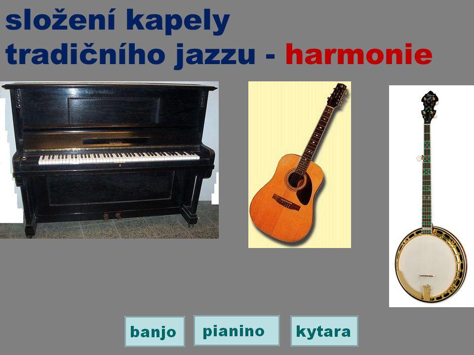 složení kapely tradičního jazzu - harmonie