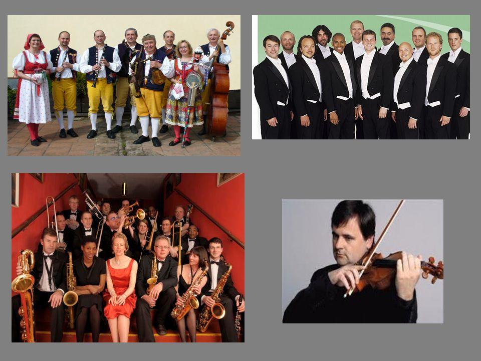 vlevo: dudácká muzika, swingový orchestr vpravo: mužský pěvecký sbor, sólo