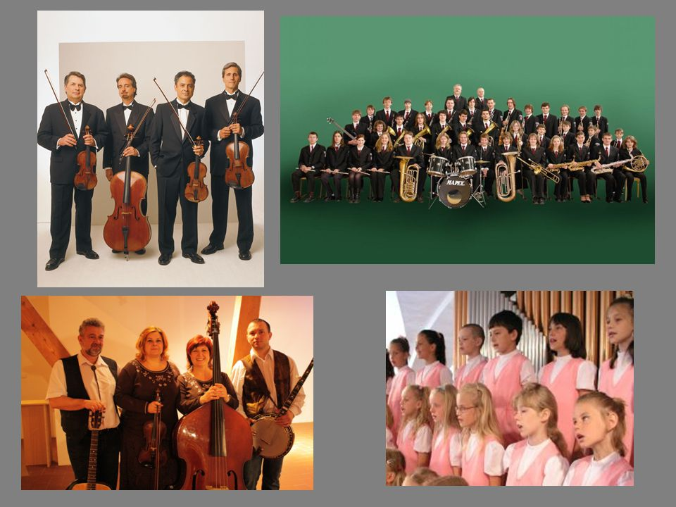 vlevo: smyčcové kvarteto, country kapela vpravo: velký dechový orchestr, dětský pěvecký sbor