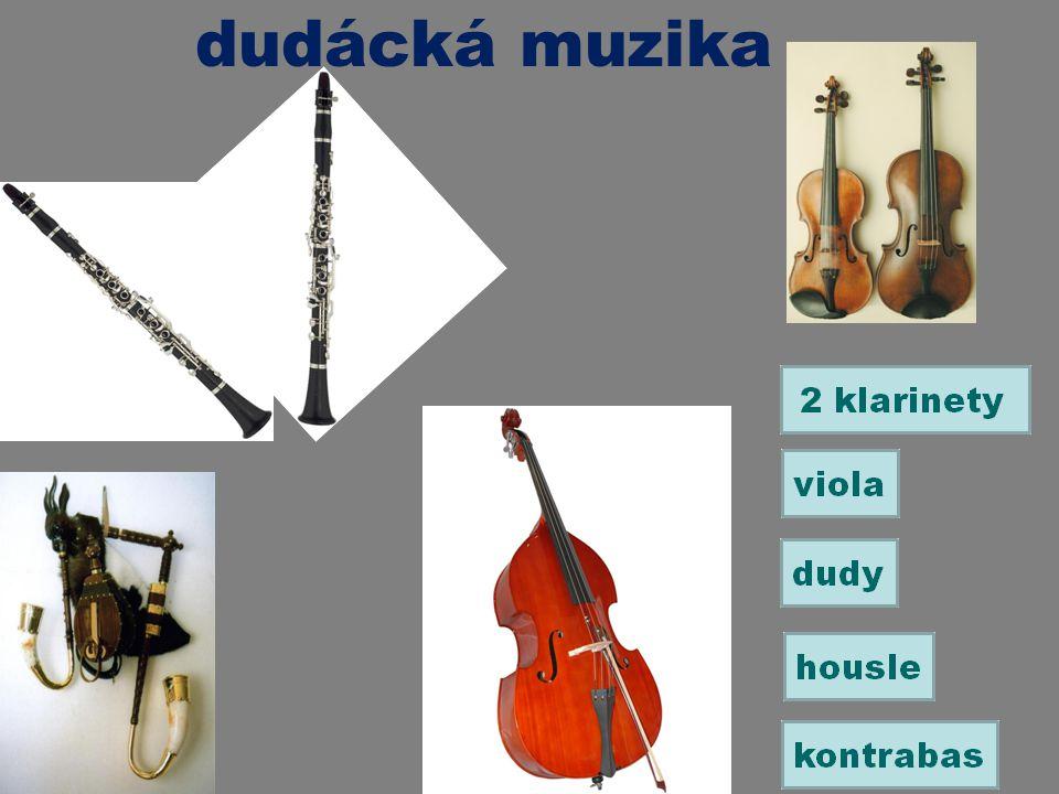 dudácká muzika Přiřaď názvy nástrojů k obrázkům.