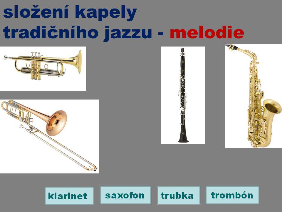 složení kapely tradičního jazzu - melodie