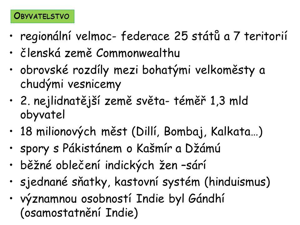 regionální velmoc- federace 25 států a 7 teritorií