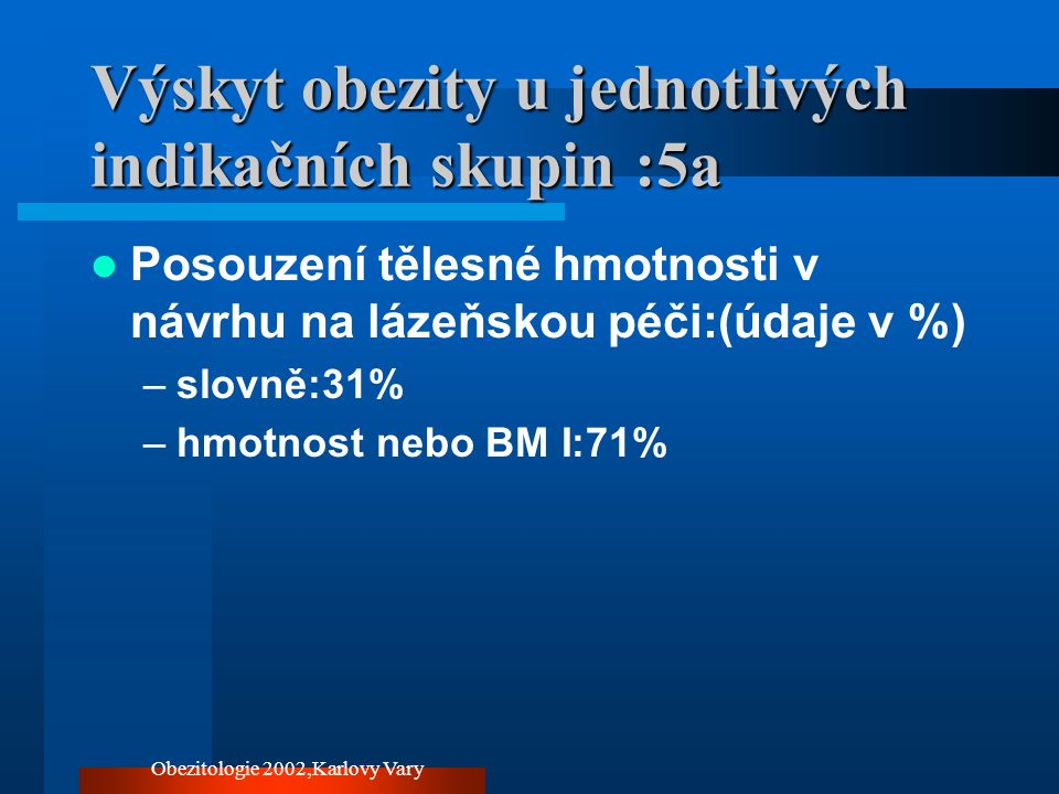 Výskyt obezity u jednotlivých indikačních skupin :5a