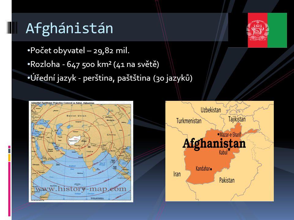 Afghánistán Počet obyvatel – 29,82 mil.