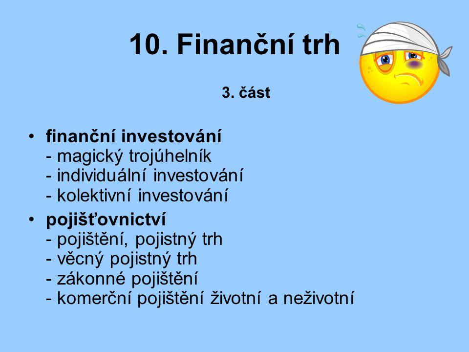 10. Finanční trh 3. část. finanční investování - magický trojúhelník - individuální investování - kolektivní investování.