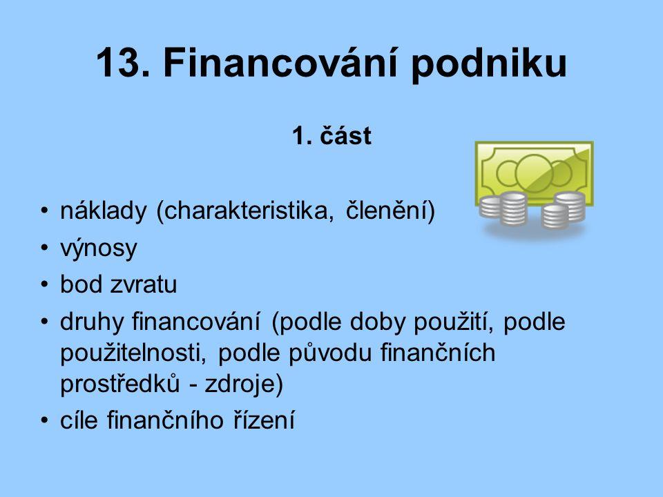 13. Financování podniku část náklady (charakteristika, členění) výnosy