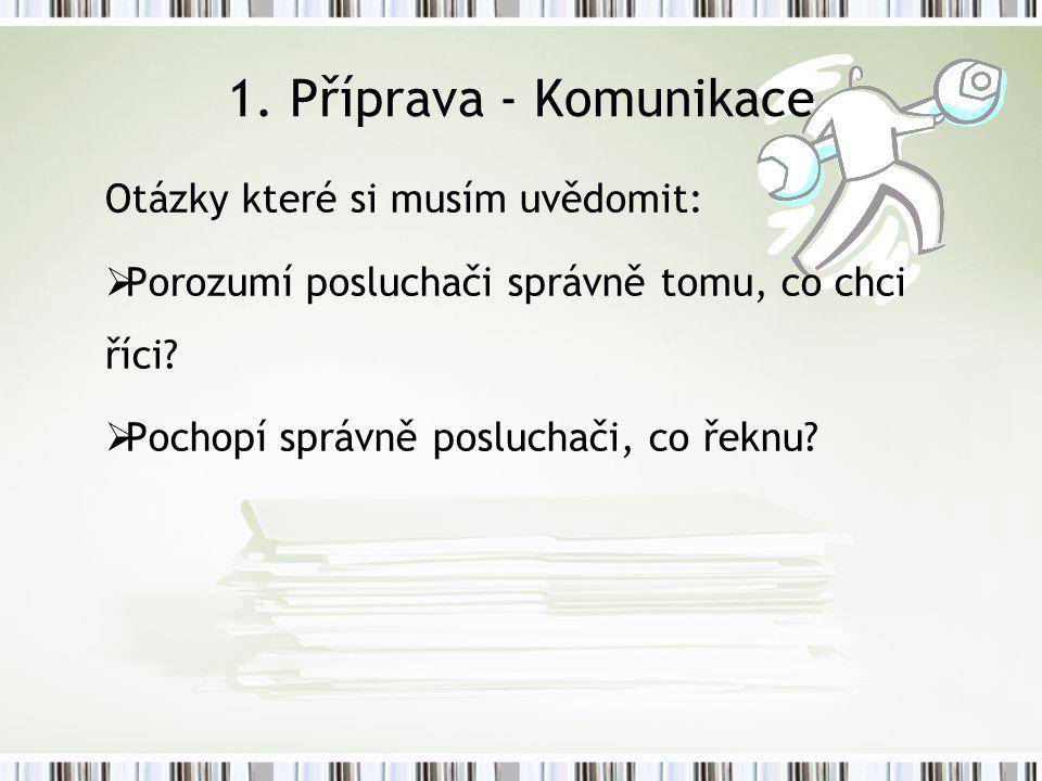 1. Příprava - Komunikace Otázky které si musím uvědomit: