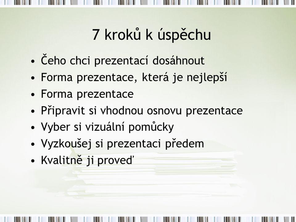 7 kroků k úspěchu Čeho chci prezentací dosáhnout