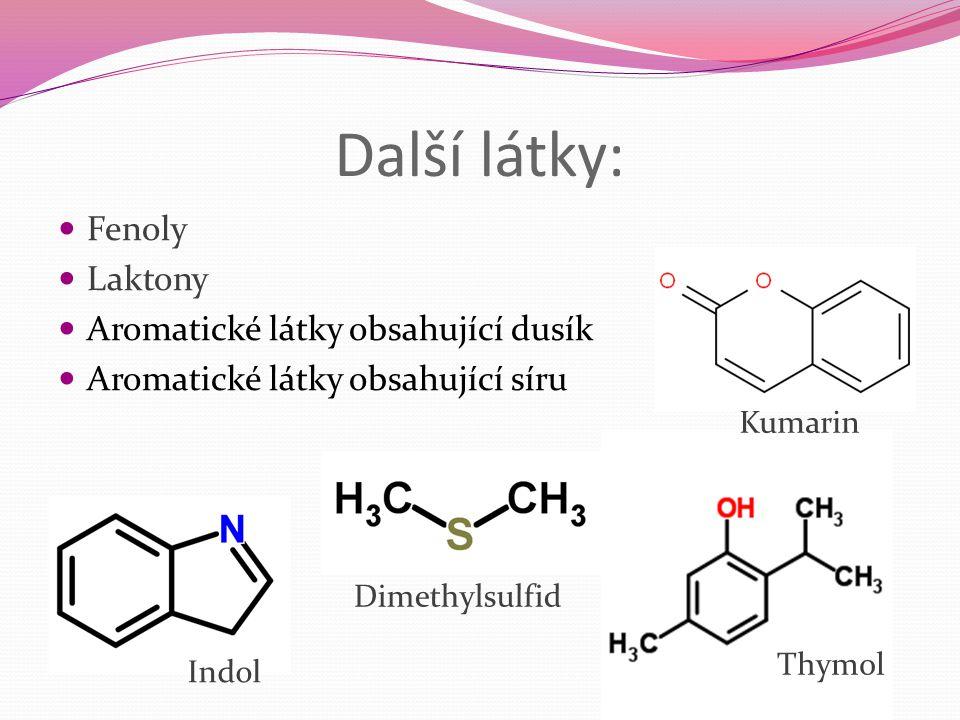 Další látky: Fenoly Laktony Aromatické látky obsahující dusík