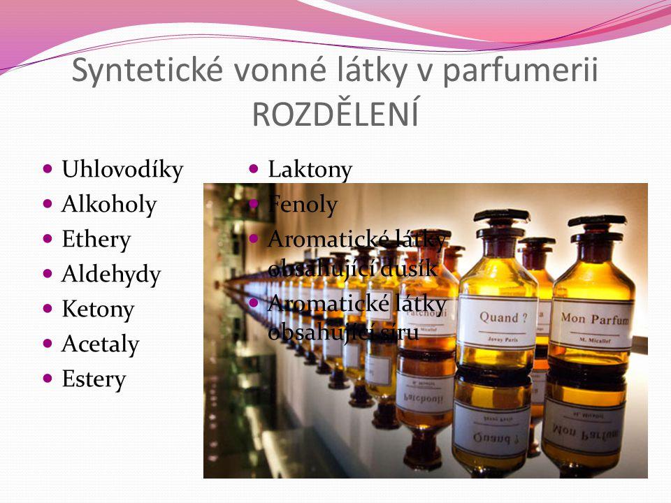 Syntetické vonné látky v parfumerii ROZDĚLENÍ