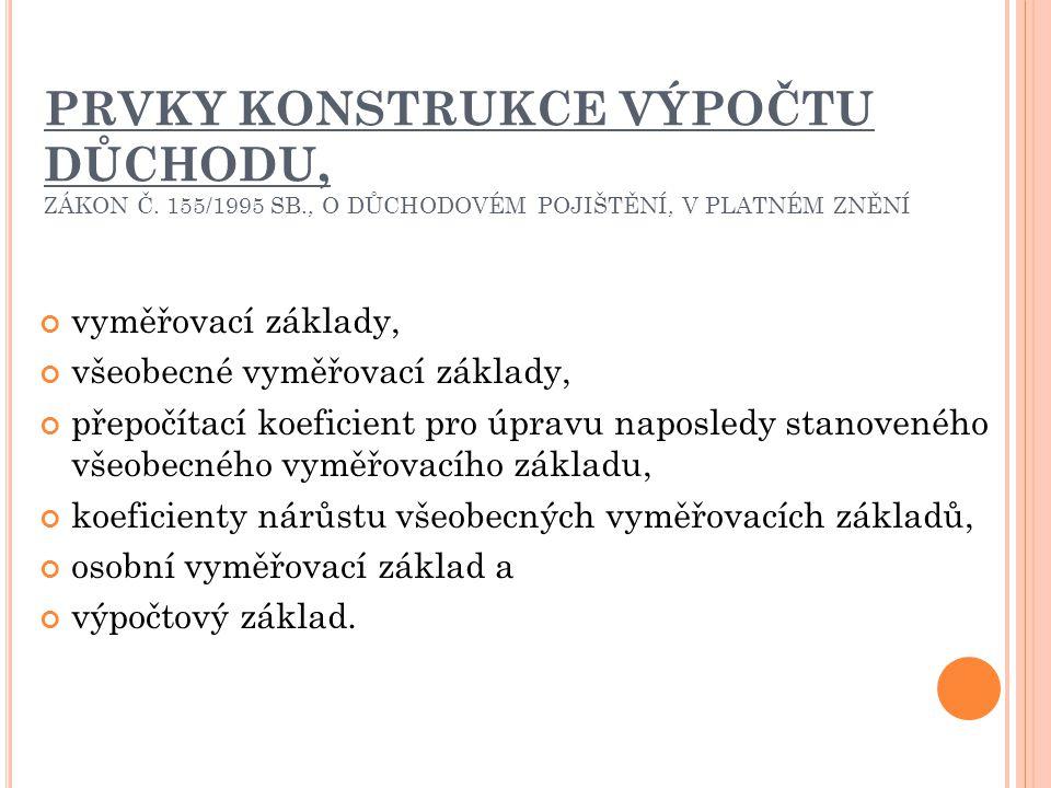 PRVKY KONSTRUKCE VÝPOČTU DŮCHODU, ZÁKON Č. 155/1995 SB