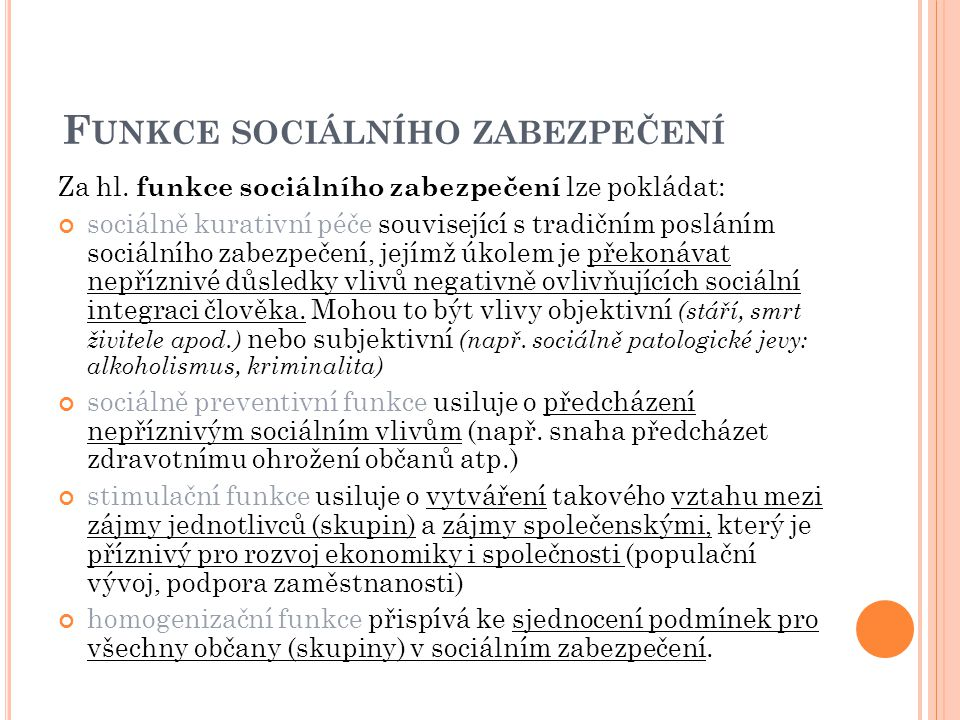 Funkce sociálního zabezpečení