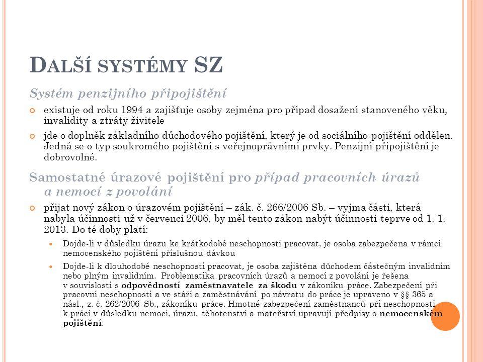 Další systémy SZ Systém penzijního připojištění