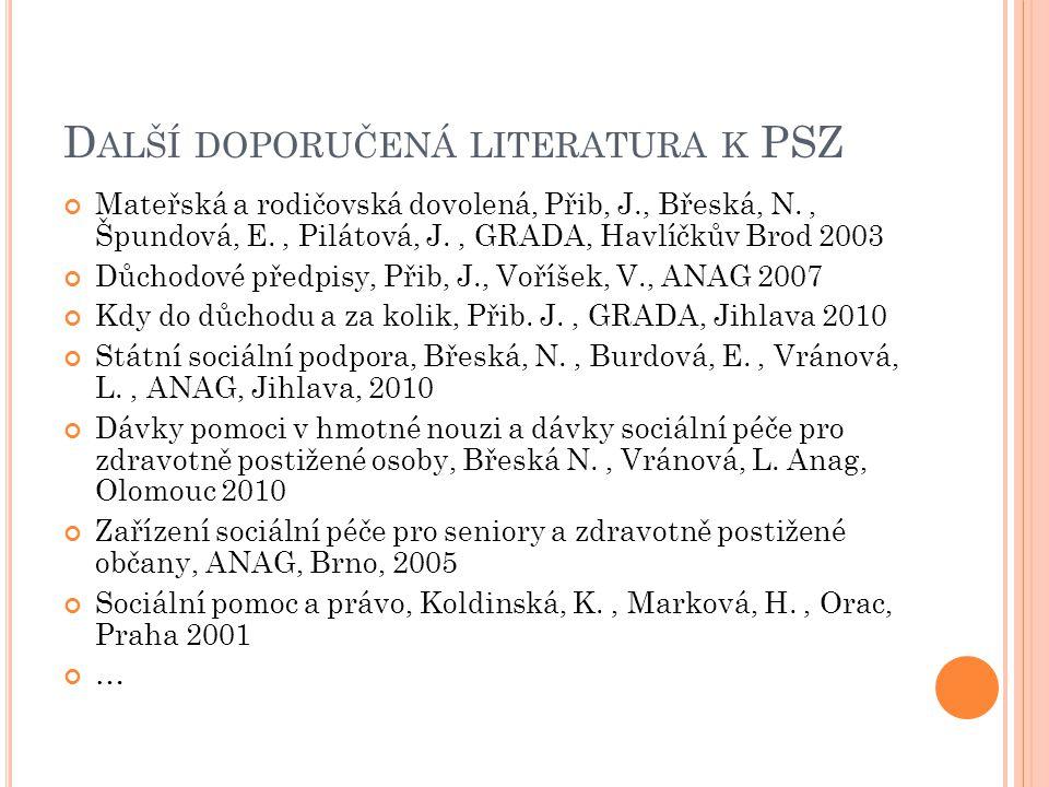 Další doporučená literatura k PSZ