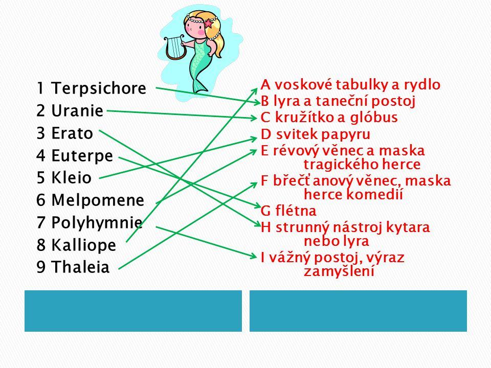 1 Terpsichore 2 Uranie 3 Erato 4 Euterpe 5 Kleio 6 Melpomene