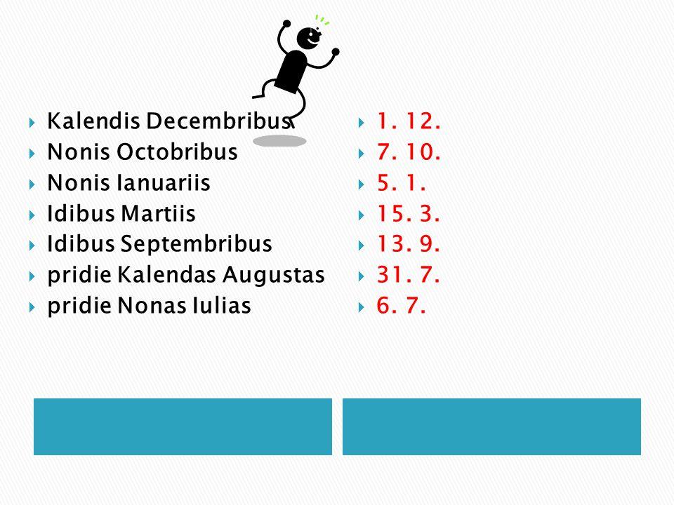 Kalendis Decembribus Nonis Octobribus. Nonis Ianuariis. Idibus Martiis. Idibus Septembribus. pridie Kalendas Augustas
