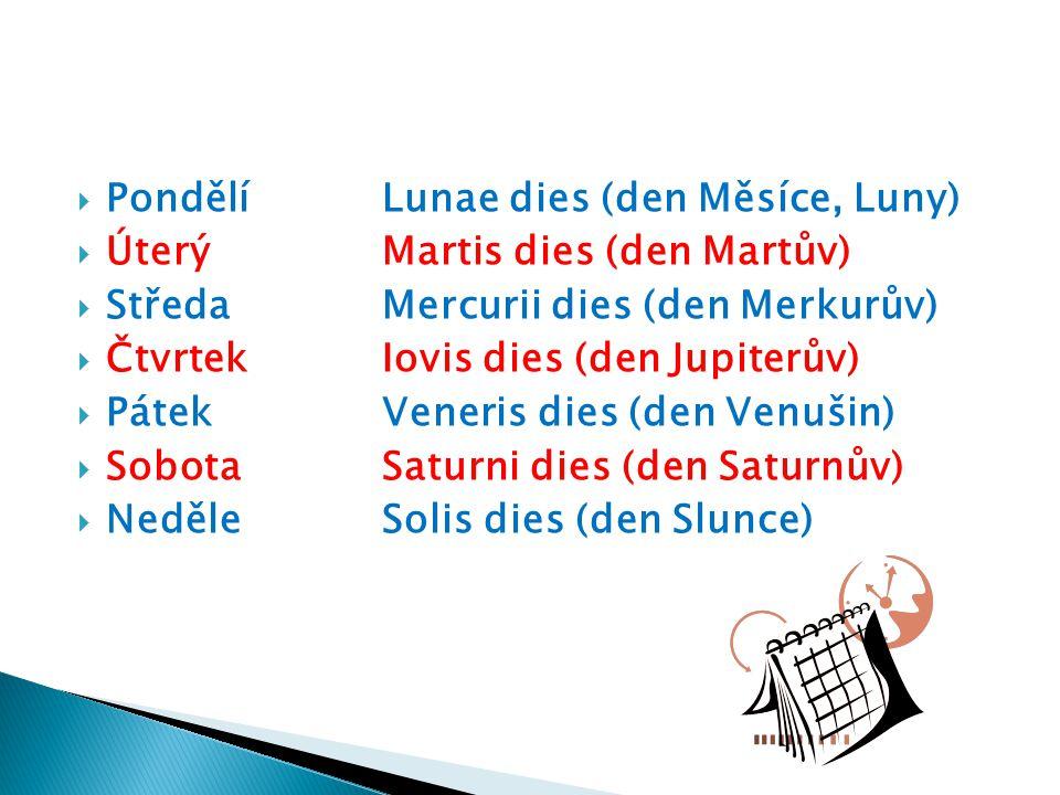 Pondělí Lunae dies (den Měsíce, Luny)