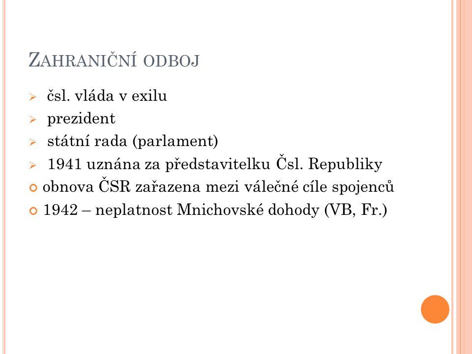 Zahraniční odboj čsl. vláda v exilu prezident státní rada (parlament)