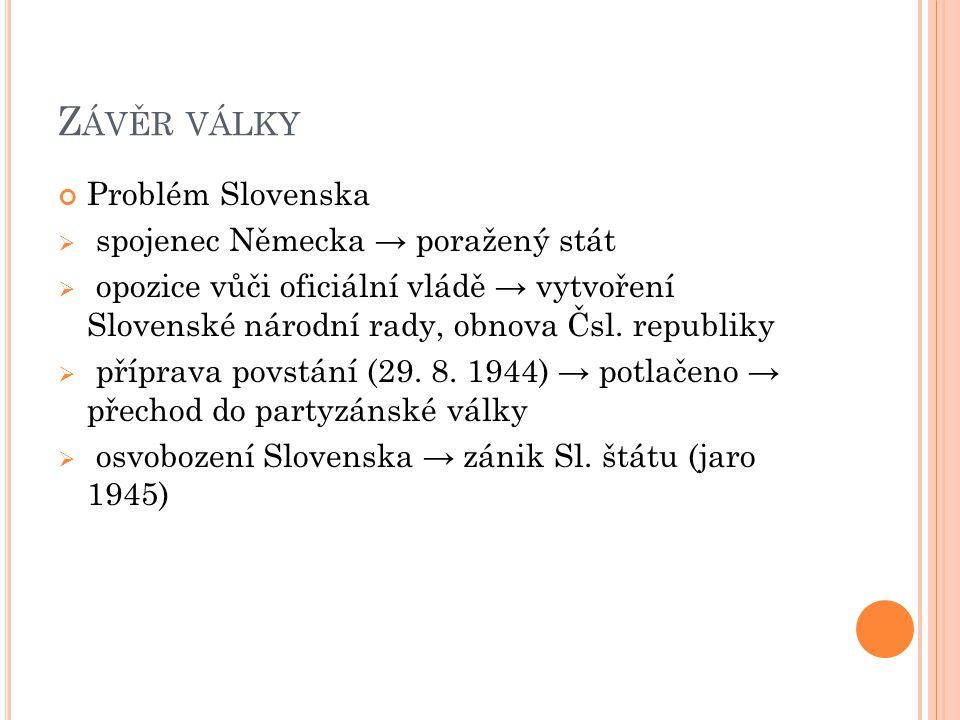 Závěr války Problém Slovenska spojenec Německa → poražený stát