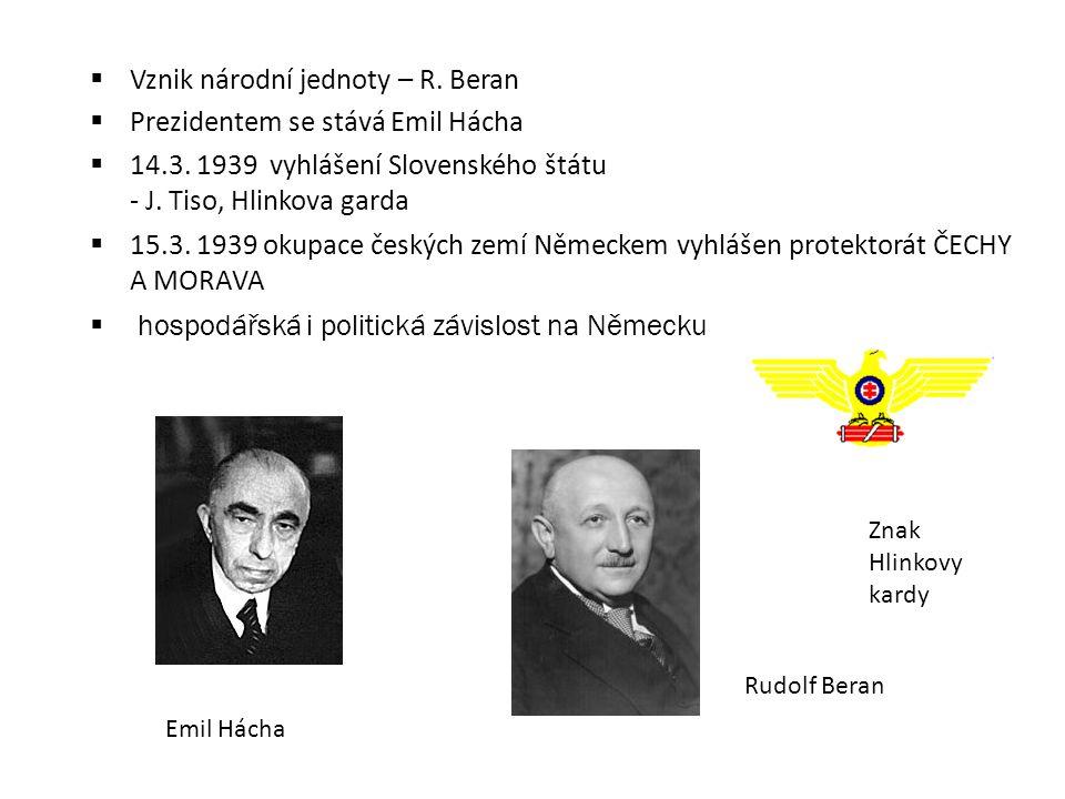 Vznik národní jednoty – R. Beran Prezidentem se stává Emil Hácha