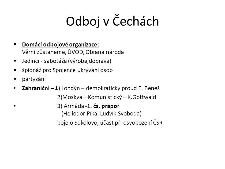 Odboj v Čechách Domácí odbojové organizace: Věrni zůstaneme, ÚVOD, Obrana národa. Jedinci - sabotáže (výroba,doprava)