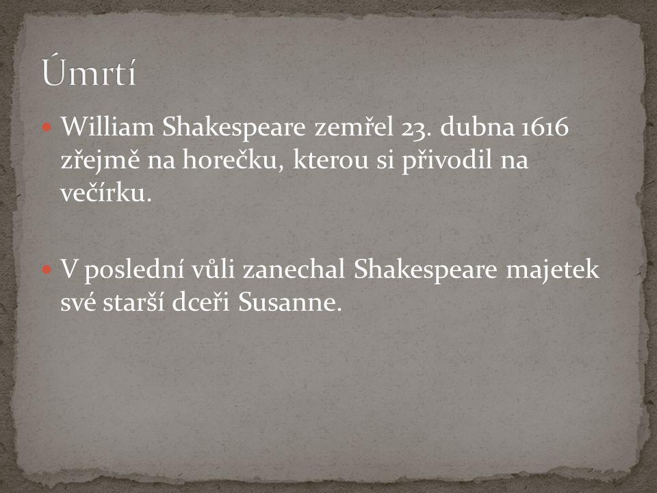 Úmrtí William Shakespeare zemřel 23. dubna 1616 zřejmě na horečku, kterou si přivodil na večírku.