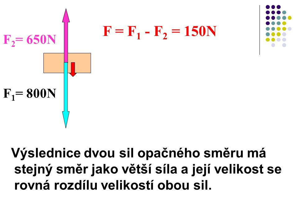 F = F1 - F2 = 150N F2= 650N. F1= 800N.