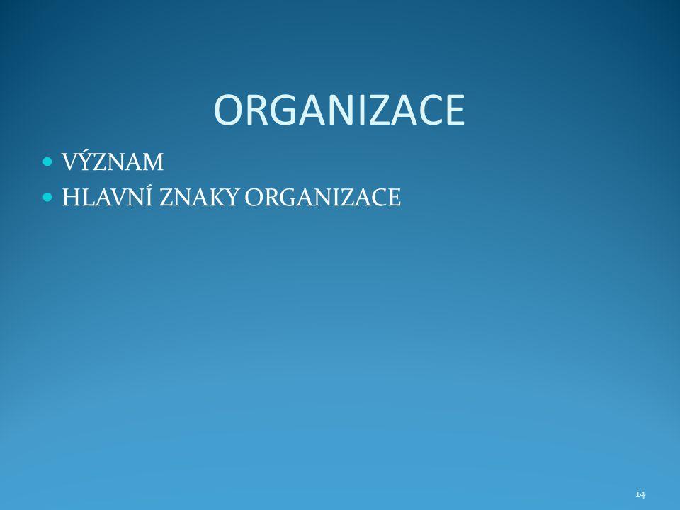 ORGANIZACE VÝZNAM HLAVNÍ ZNAKY ORGANIZACE