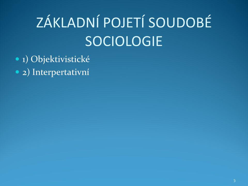 ZÁKLADNÍ POJETÍ SOUDOBÉ SOCIOLOGIE