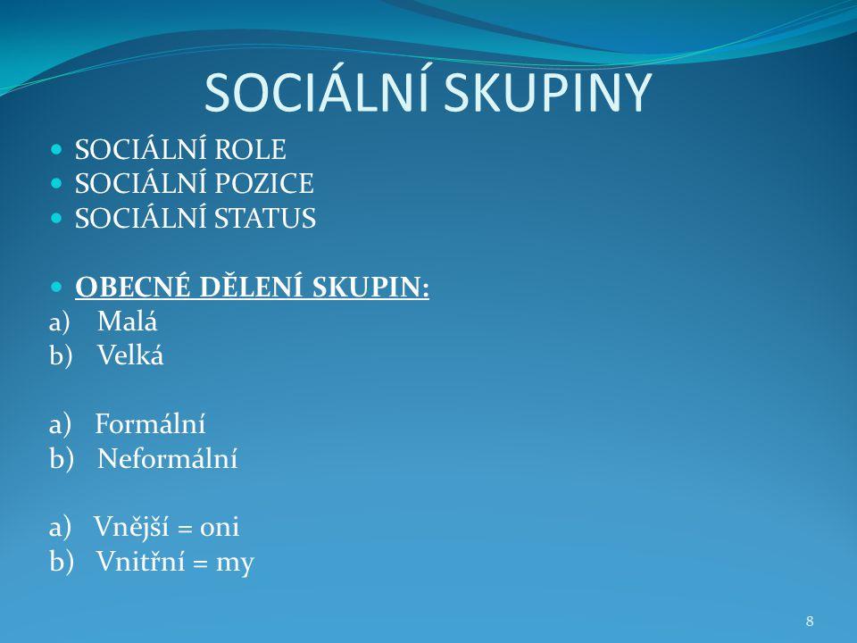 SOCIÁLNÍ SKUPINY SOCIÁLNÍ ROLE SOCIÁLNÍ POZICE SOCIÁLNÍ STATUS