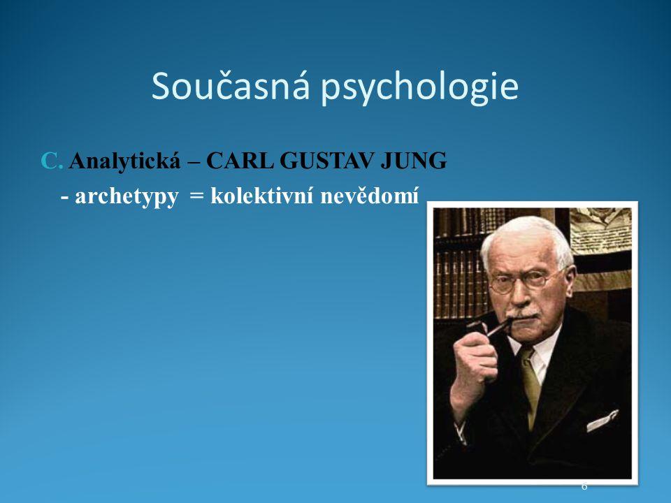Současná psychologie C. Analytická – CARL GUSTAV JUNG - archetypy = kolektivní nevědomí