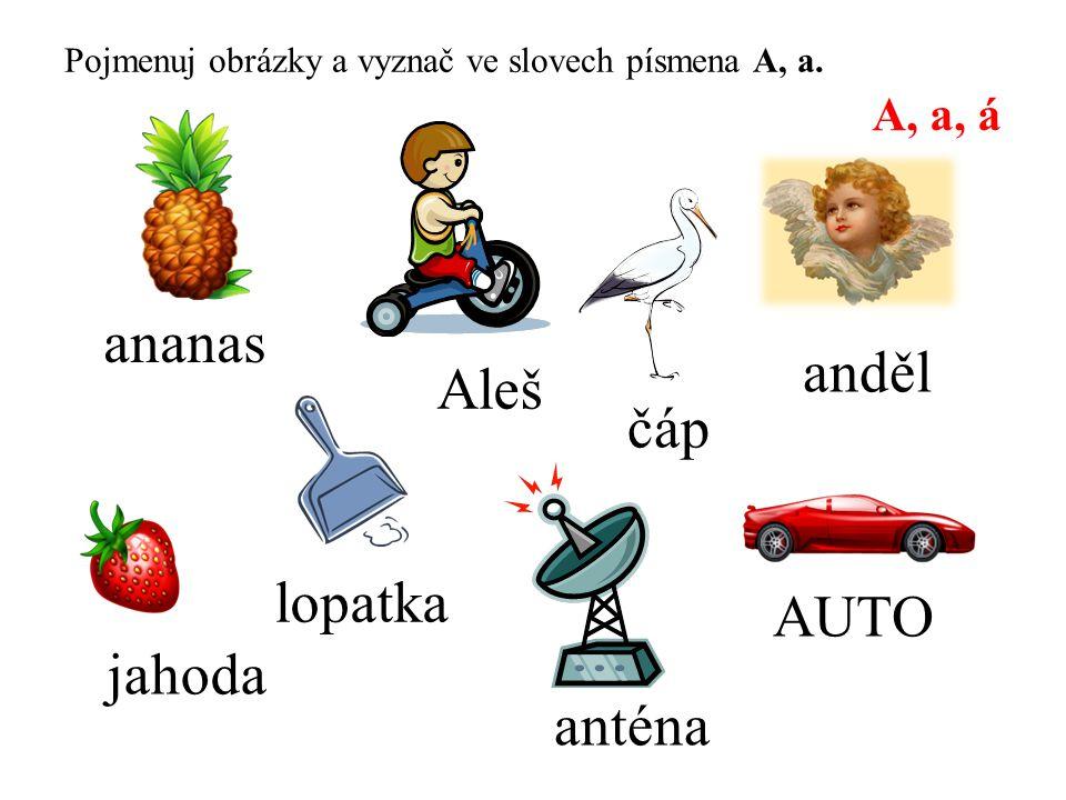 ananas Aleš lopatka AUTO jahoda anténa A, a, á anděl čáp